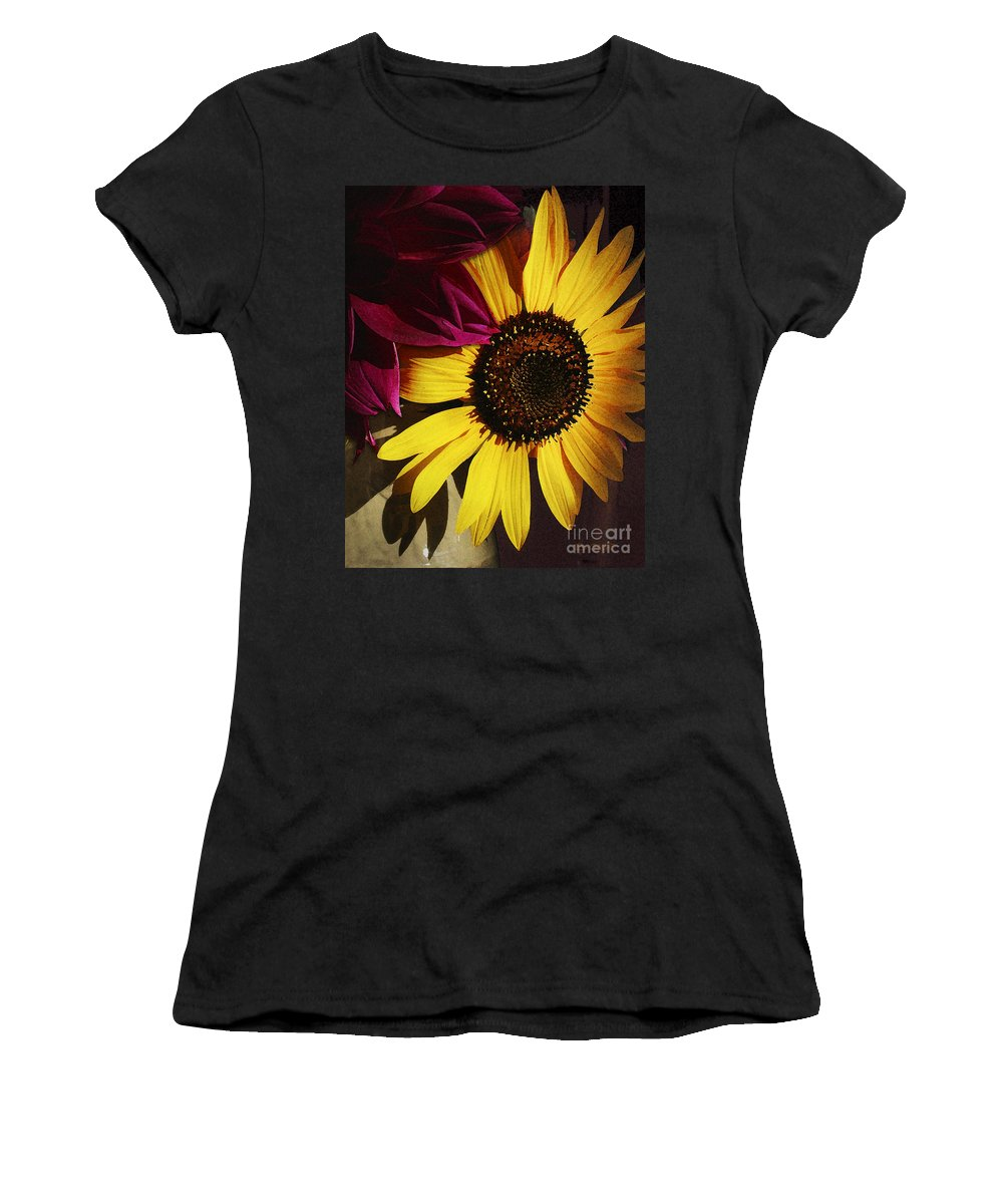 Flower Women's T-Shirt (Athletic Fit) featuring the photograph Sunflower With Dahlia by Ed A Gage