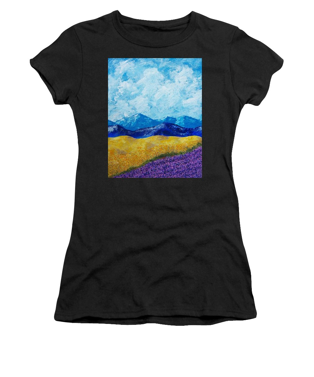 Art & Collectibles Painting Acrylic Provence France Mediterranean Art French Countryside Landscape Painting Lavender Fields Mountain Scenery Hillside Painting Tree Artwork Purple Home Decor Modern Green Design Yellow Artwork Blue Modern Design Sunflowers Women's T-Shirt (Athletic Fit) featuring the painting Sunflowers And Lavender In Provence by Mike Kraus