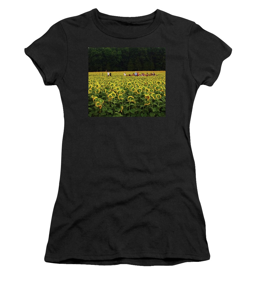 Sunflower Women's T-Shirt (Athletic Fit) featuring the photograph Sunflowers Everywhere by John Scates