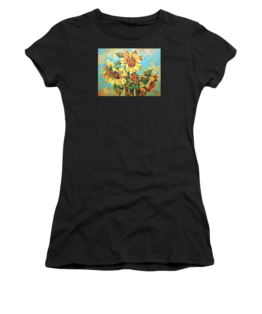 Sunflowers Women's T-Shirt (Athletic Fit) featuring the painting Sunflowers by Iliyan Bozhanov