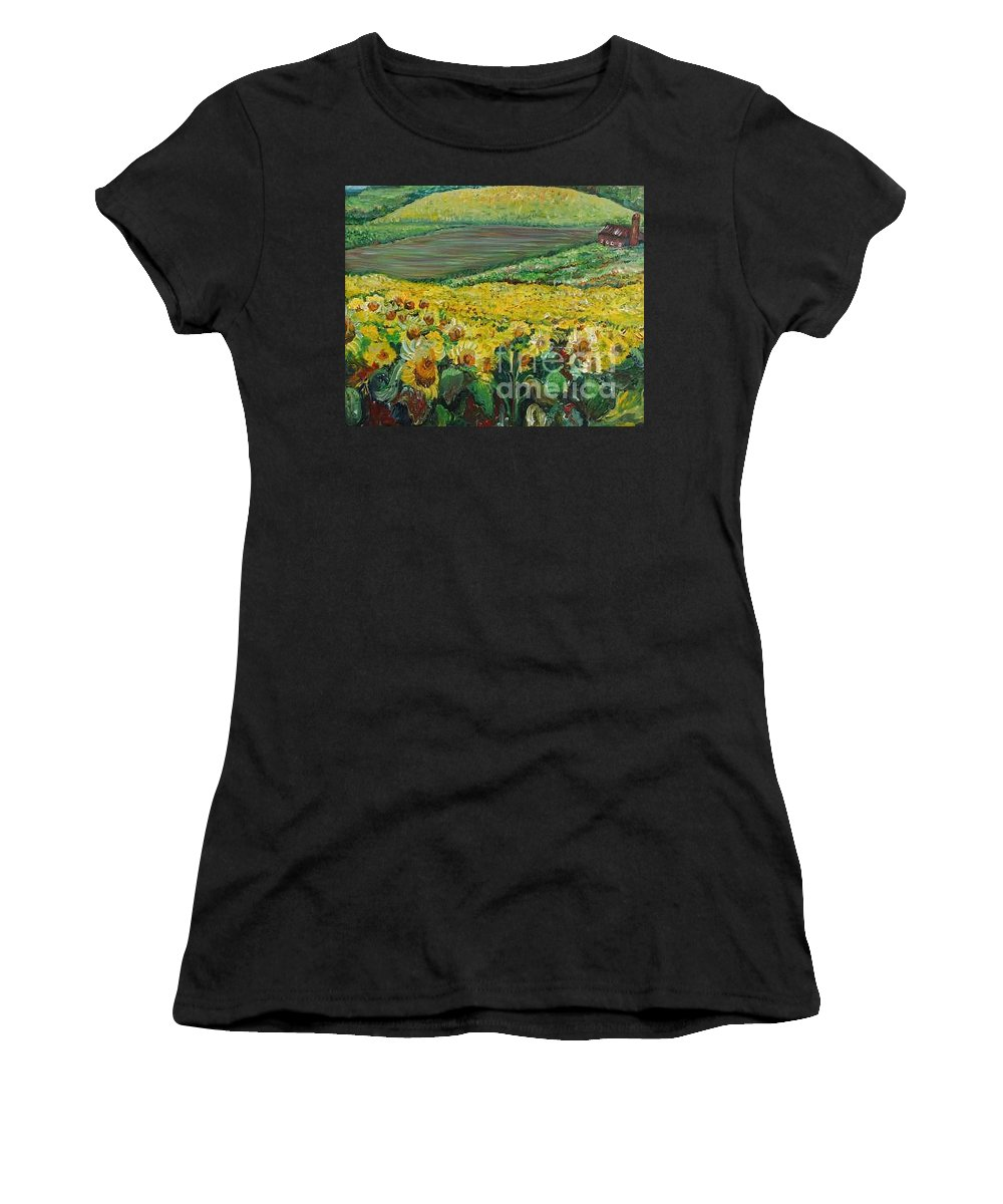A Field Of Yellow Sunflowers Women's T-Shirt (Athletic Fit) featuring the painting Sunflowers In Provence by Nadine Rippelmeyer