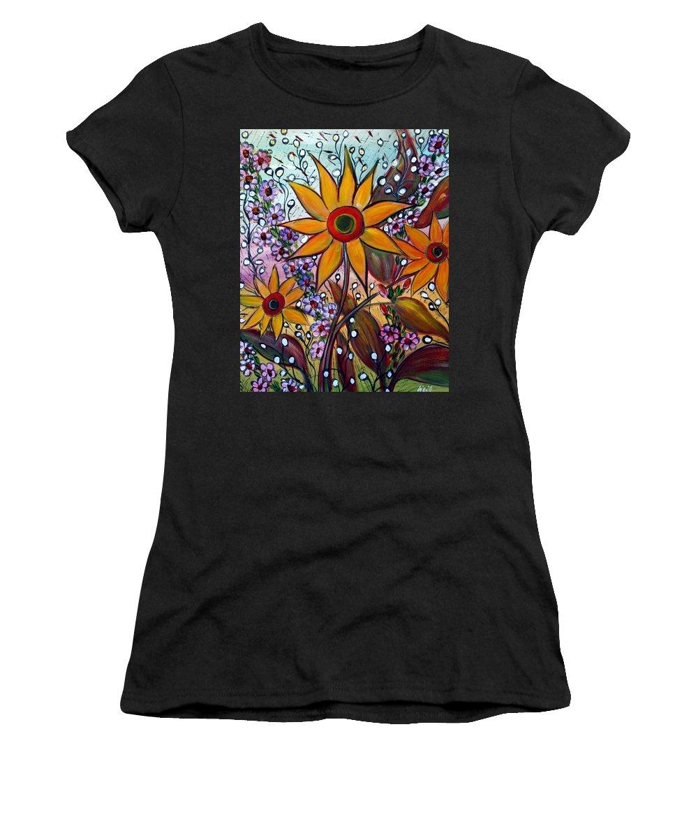 Flowers Women's T-Shirt featuring the painting Sunflowers by Luiza Vizoli