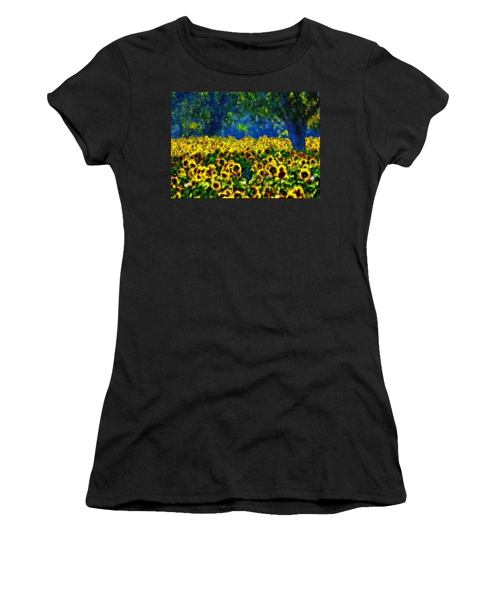 Sunflowers Women's T-Shirt (Athletic Fit) featuring the painting Sunflowers No2 by Michael Thomas