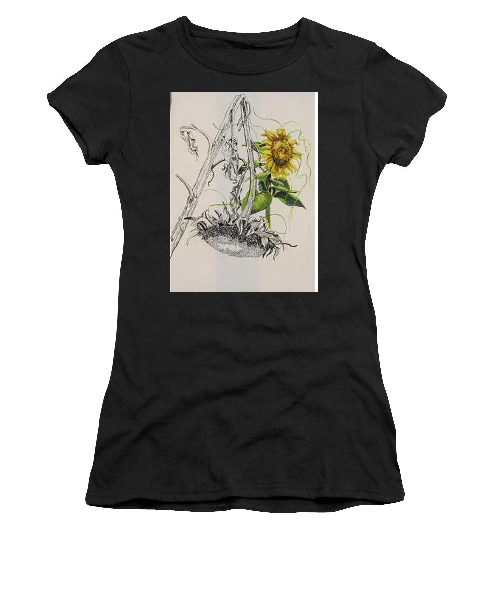 Large Sunflowers Featured Women's T-Shirt (Athletic Fit) featuring the painting Sunflowers by Wanda Dansereau