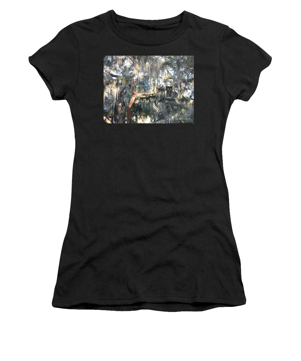 Spanish Moss Women's T-Shirt featuring the photograph Sunlight On Mossy Tree by Carol Groenen