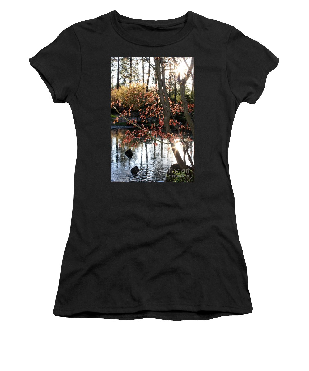 Maple Tree Women's T-Shirt (Athletic Fit) featuring the photograph Sunlight Through Japanese Maple by Carol Groenen