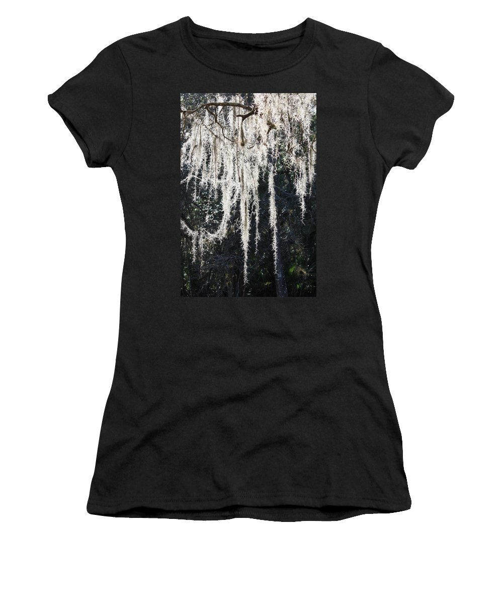 Mossy Women's T-Shirt (Athletic Fit) featuring the photograph Sunlight Through Spanish Moss by Carol Groenen