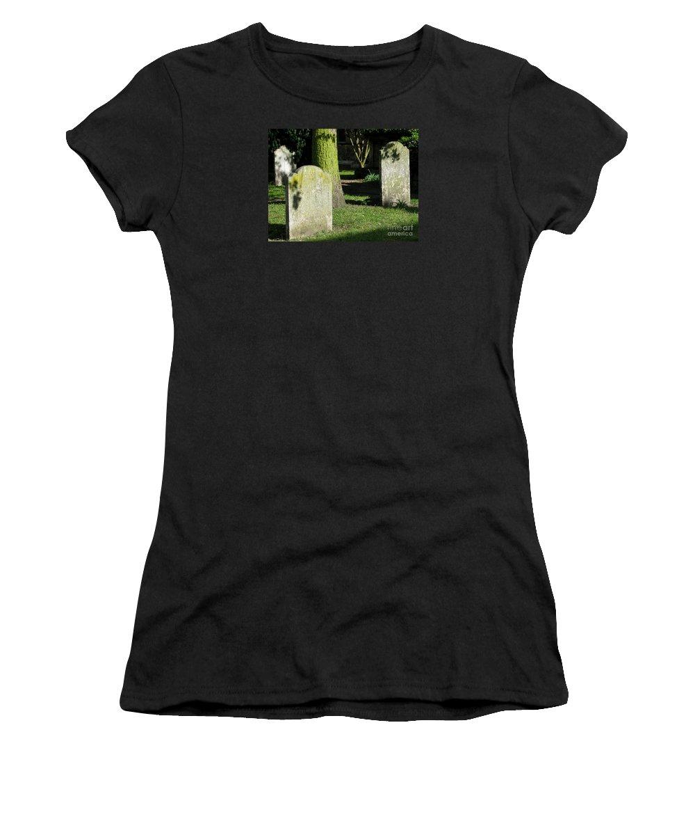 Churchyard Women's T-Shirt (Athletic Fit) featuring the photograph Sunlit Churchyard by Ann Horn