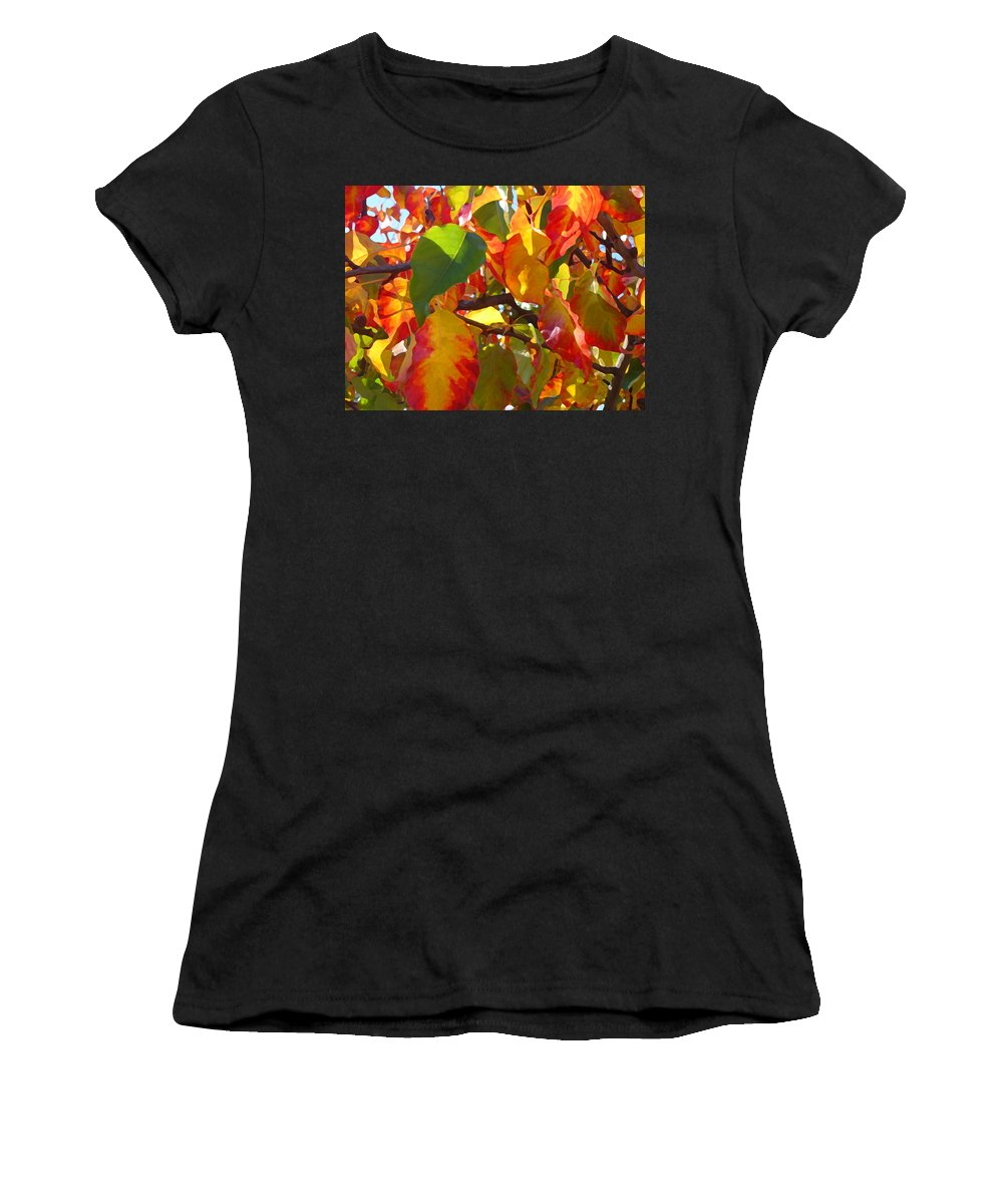 Fall Leaves Women's T-Shirt (Athletic Fit) featuring the photograph Sunlit Fall Leaves by Amy Vangsgard