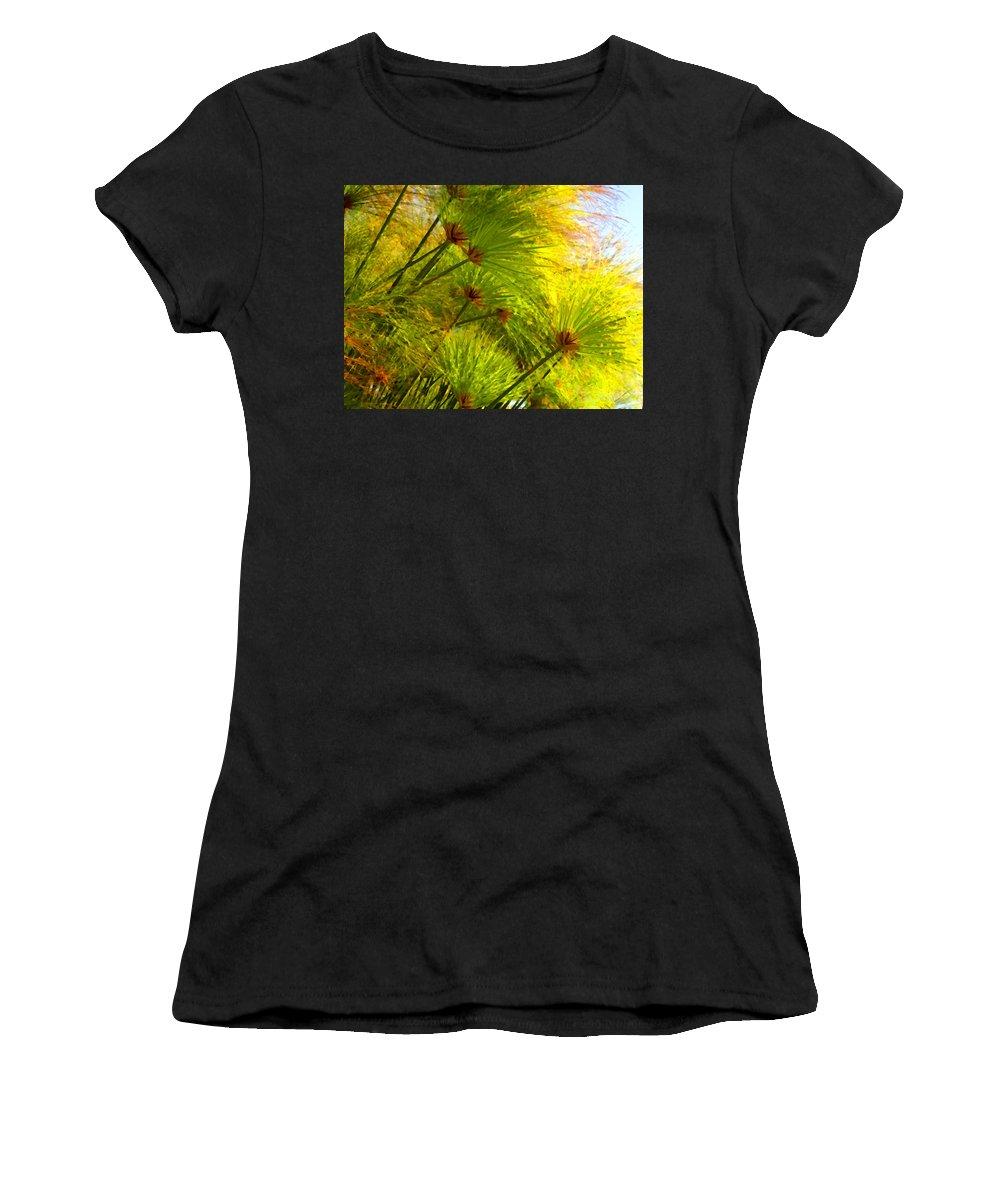 Landscape Women's T-Shirt (Athletic Fit) featuring the painting Sunlit Paparus by Amy Vangsgard