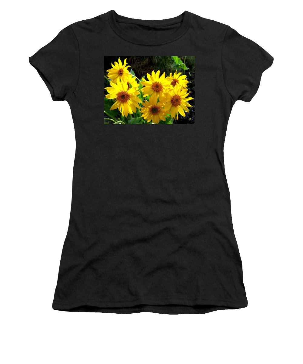 Wildflowers Women's T-Shirt (Athletic Fit) featuring the photograph Sunlit Wild Sunflowers by Will Borden