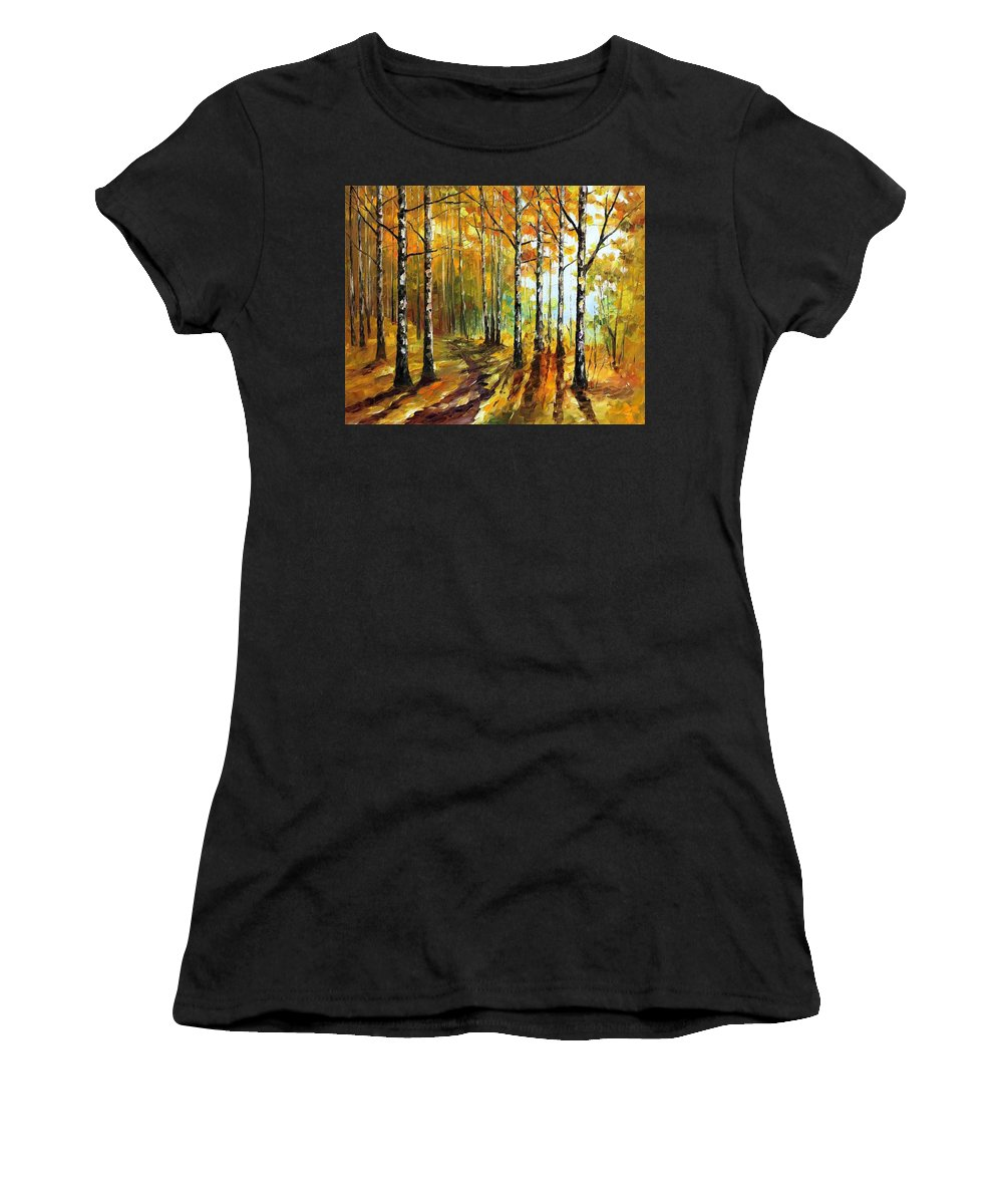 Afremov Women's T-Shirt (Athletic Fit) featuring the painting Sunny Birches by Leonid Afremov