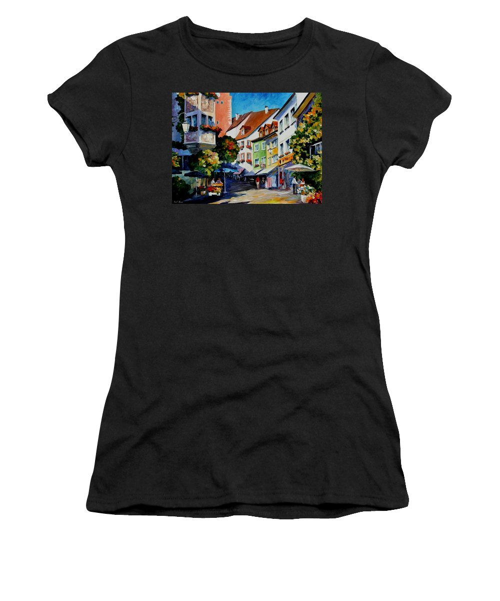 Afremov Women's T-Shirt featuring the painting Sunny Meersburg - Germany by Leonid Afremov