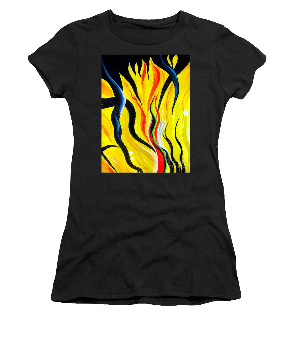 Positive Women's T-Shirt featuring the painting Sunny Morning, Energy. Abstract Art by Sofia Metal Queen