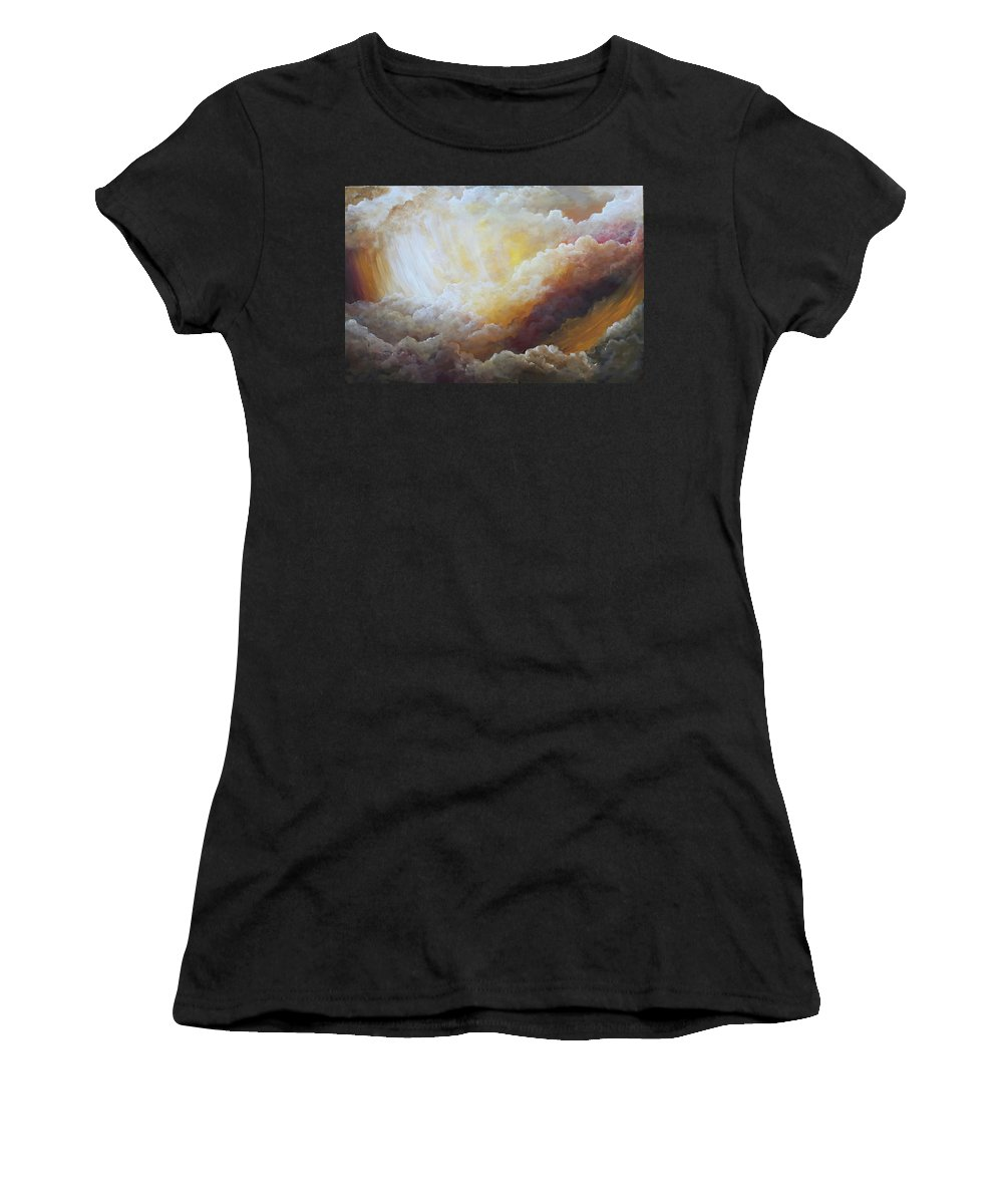 Clouds Women's T-Shirt (Athletic Fit) featuring the painting Sunny Side Of Life by Jacquie Potvin Boucher