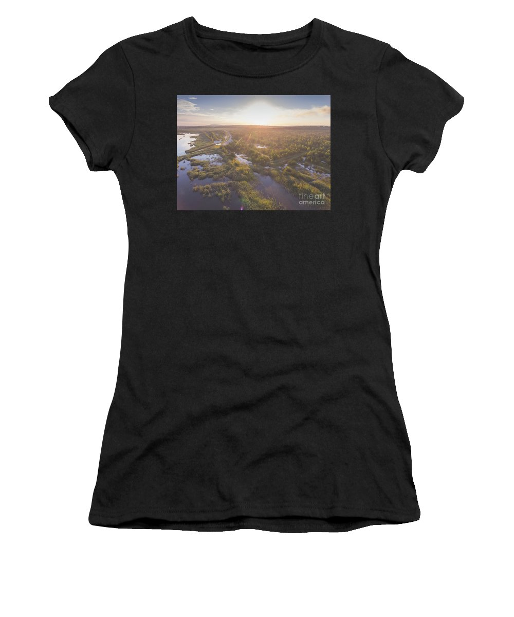 Above Women's T-Shirt (Athletic Fit) featuring the photograph Sunraise Morning Summer Time Lake And Green Forest, In Poland by Mariusz Prusaczyk