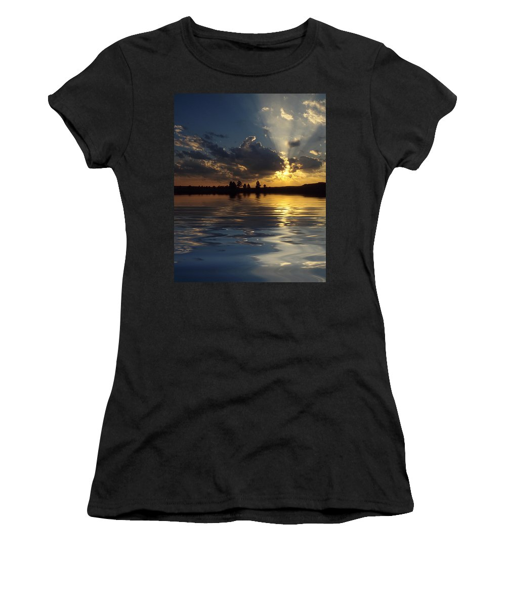 Sunset Women's T-Shirt (Athletic Fit) featuring the photograph Sunray Sunset by Jerry McElroy