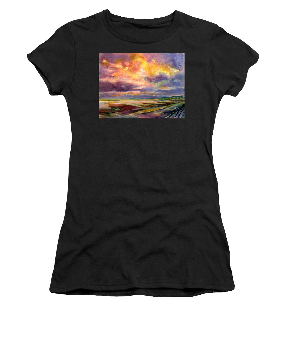 Sunrise Women's T-Shirt featuring the painting Sunrise And Tide Pool by Julianne Felton
