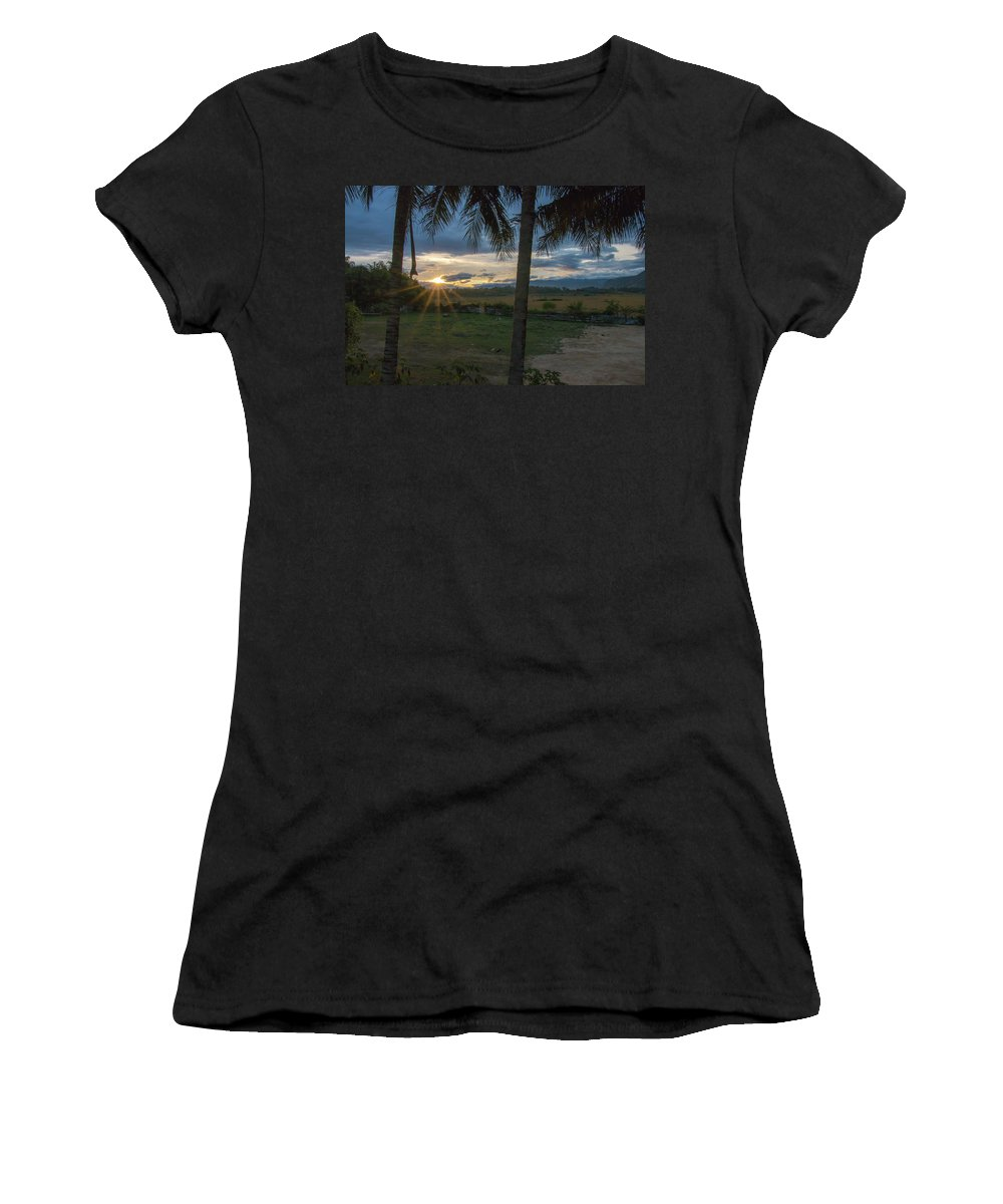 Palm Trees Women's T-Shirt (Athletic Fit) featuring the photograph Sunrise Between The Palms by Nathaniel H Broughton