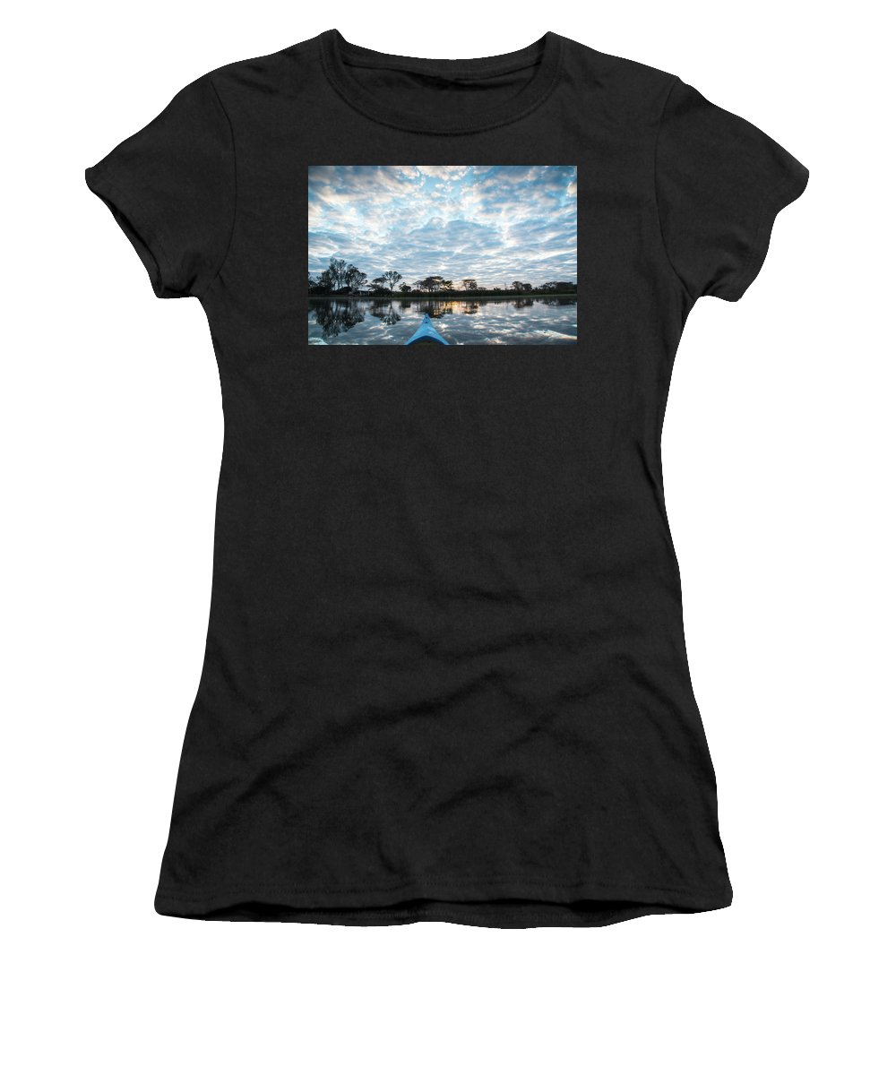Joburg2kili Women's T-Shirt (Athletic Fit) featuring the photograph Sunrise From A Boat - Duck Inn Malawi by Gareth Pickering