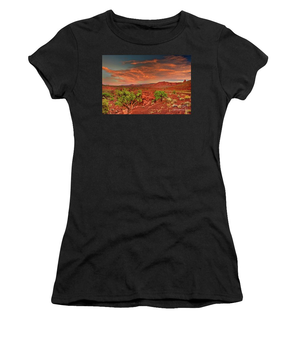 North America Women's T-Shirt (Athletic Fit) featuring the photograph Sunrise In Capitol Reef National Park Utah by Dave Welling