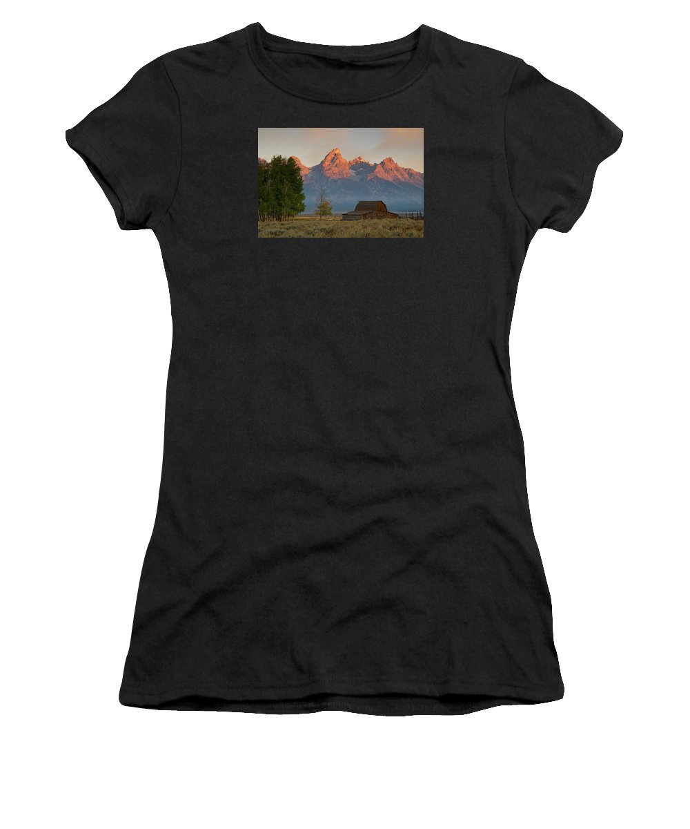 Grand Teton Women's T-Shirt (Athletic Fit) featuring the photograph Sunrise In Jackson Hole by Steve Stuller