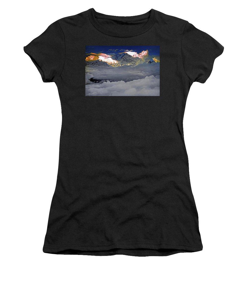 Darjeeling Women's T-Shirt (Athletic Fit) featuring the photograph Sunrise On Kanchenjunga by Steve Harrington
