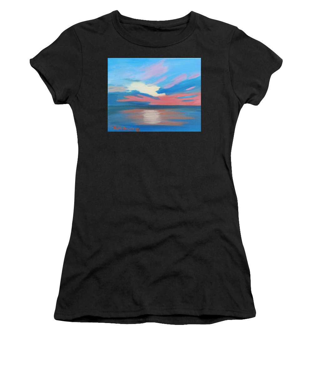 Fine Art Women's T-Shirt (Athletic Fit) featuring the painting Sunrise Over Ocean City Maryland by Ruth Housley