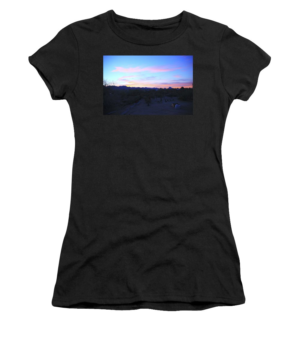 Sunrise Women's T-Shirt (Athletic Fit) featuring the photograph Sunrise Over Rincon Mountains by Warren Still