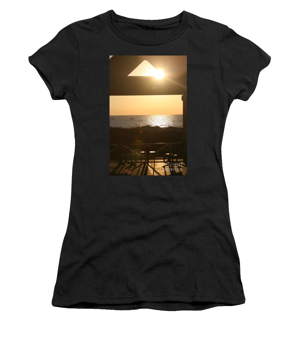 Sunrise Women's T-Shirt (Athletic Fit) featuring the photograph Sunrise Through The Pavilion by Nadine Rippelmeyer
