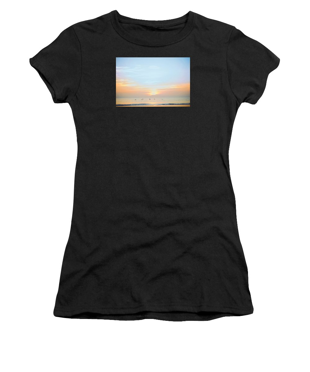 Sunset Daytona Beach Women's T-Shirt (Athletic Fit) featuring the photograph Sunseet On Daytona Beach Florida by Rodney Perry