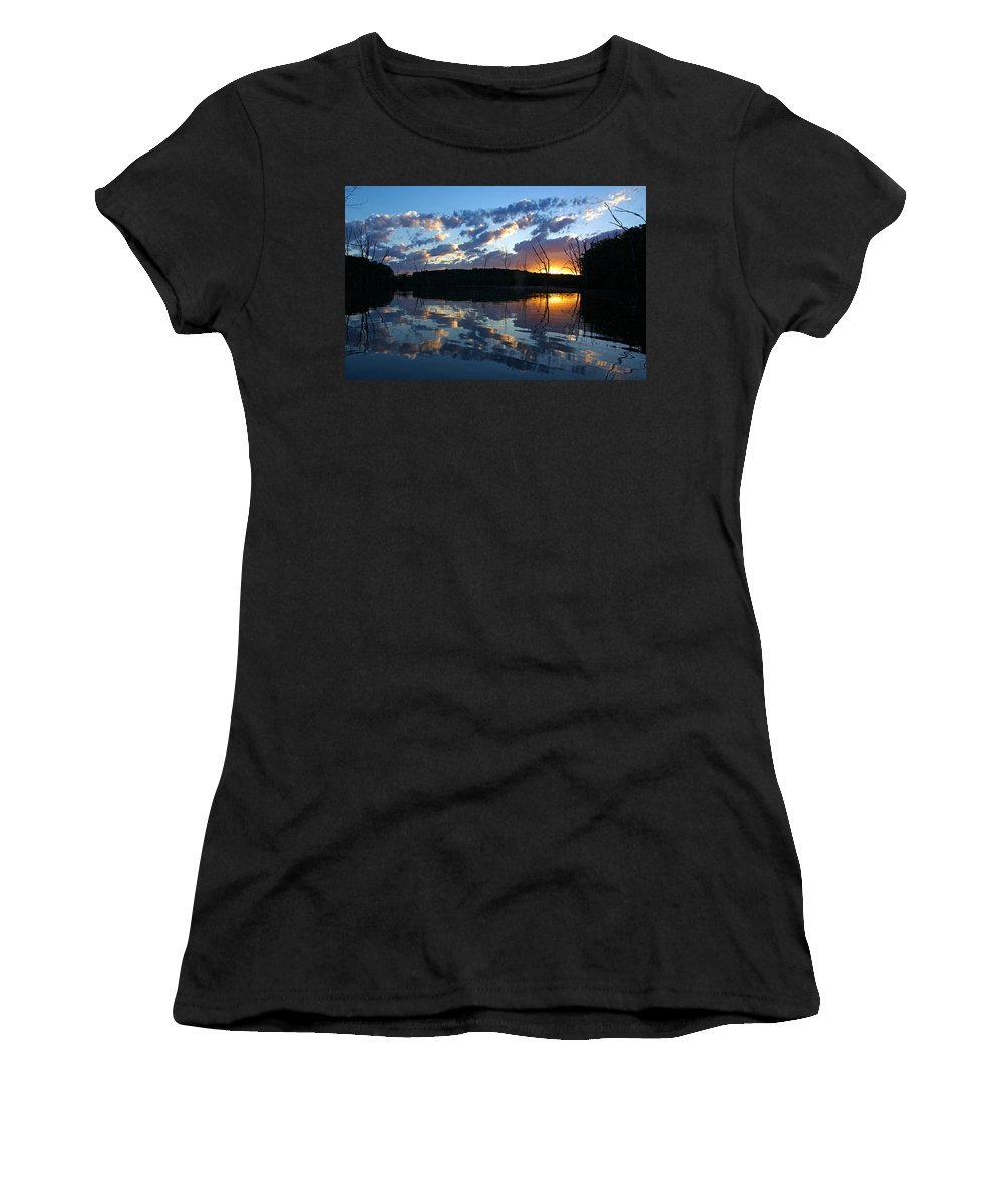 Chester Woods County Park Women's T-Shirt (Athletic Fit) featuring the photograph Sunset At Chester Lake by Larry Ricker