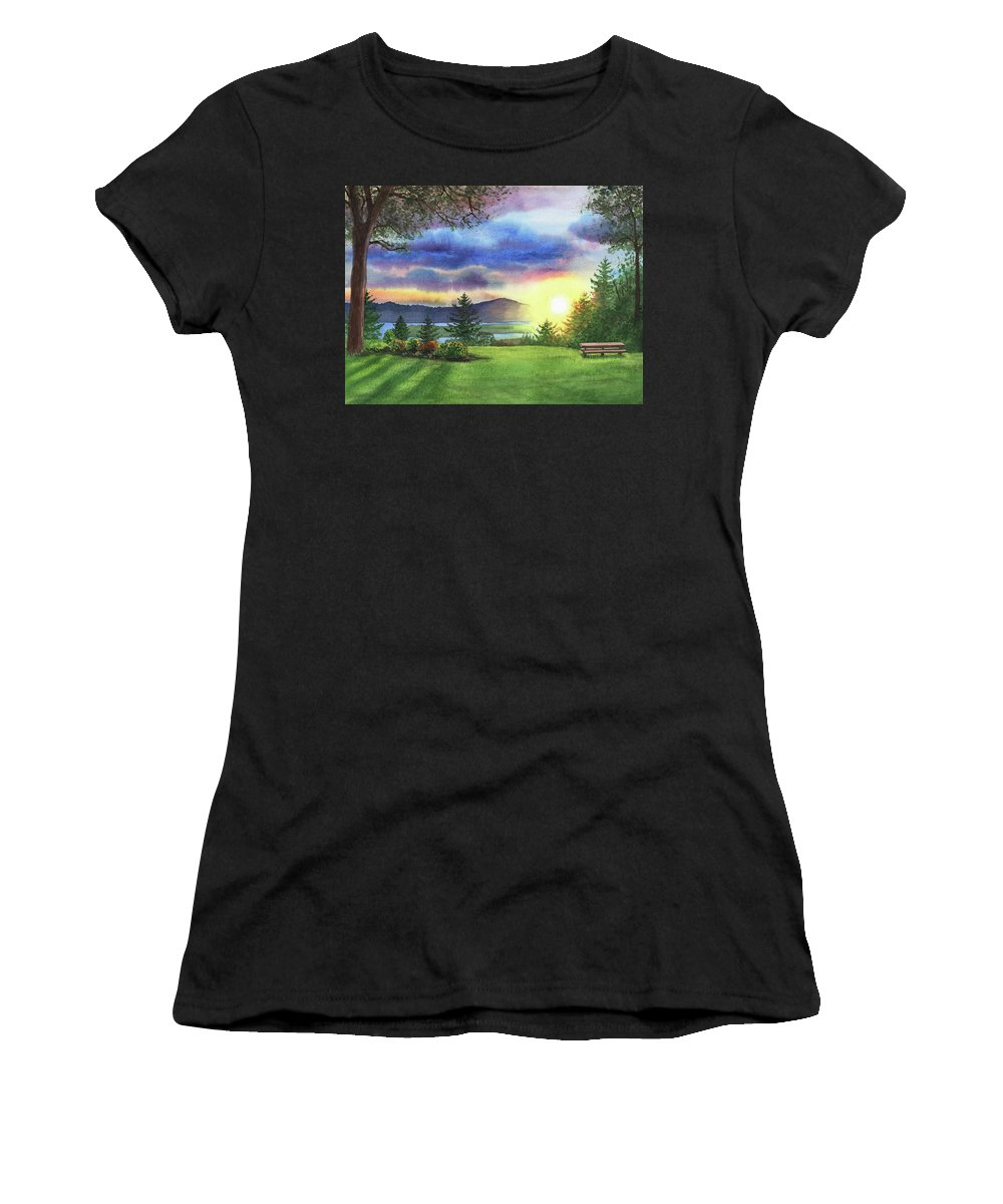 Columbia River Women's T-Shirt (Athletic Fit) featuring the painting Sunset At Columbia River State Of Washington by Irina Sztukowski
