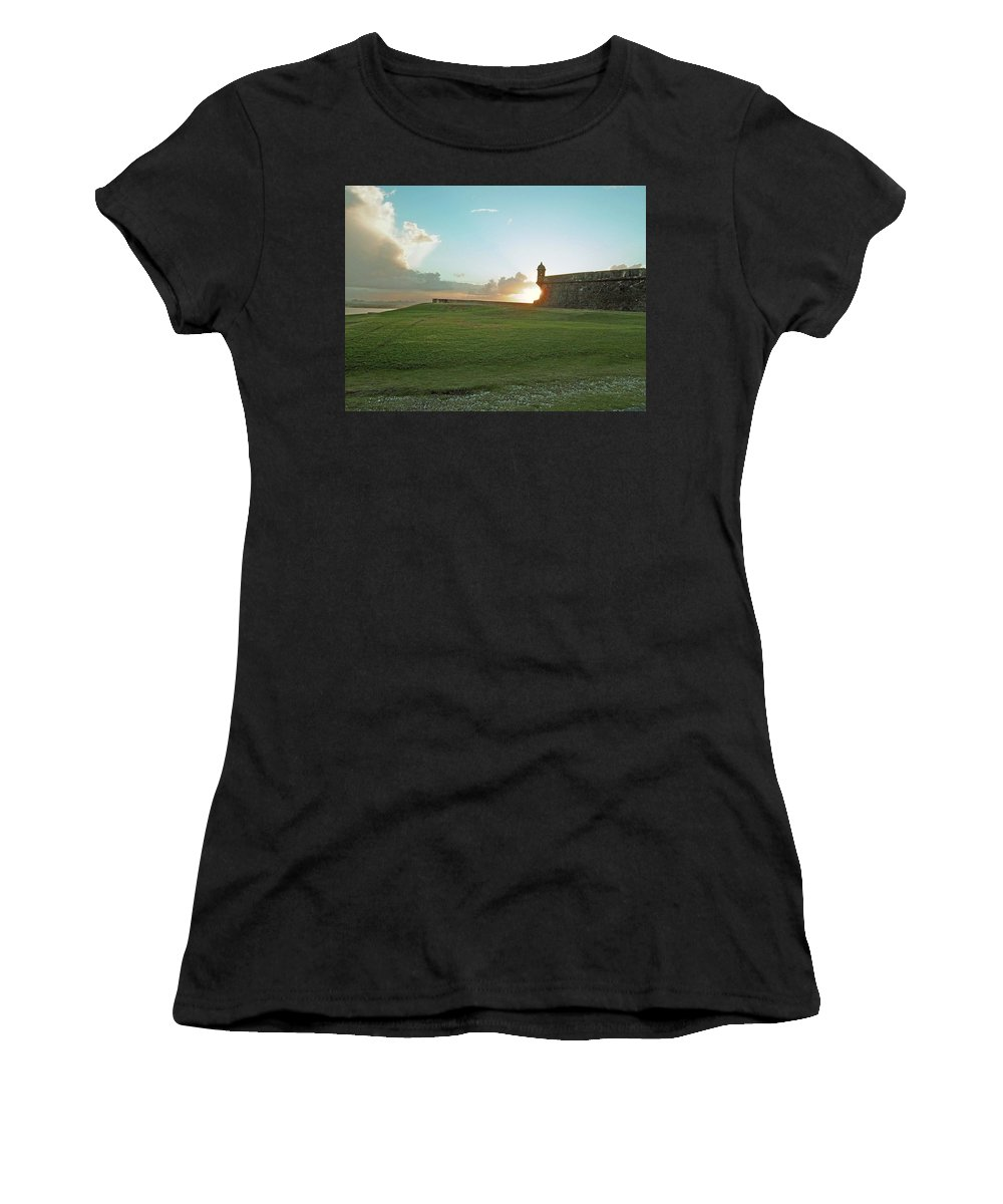 Sunset Women's T-Shirt (Athletic Fit) featuring the photograph Sunset At El Morro by Gary Wonning