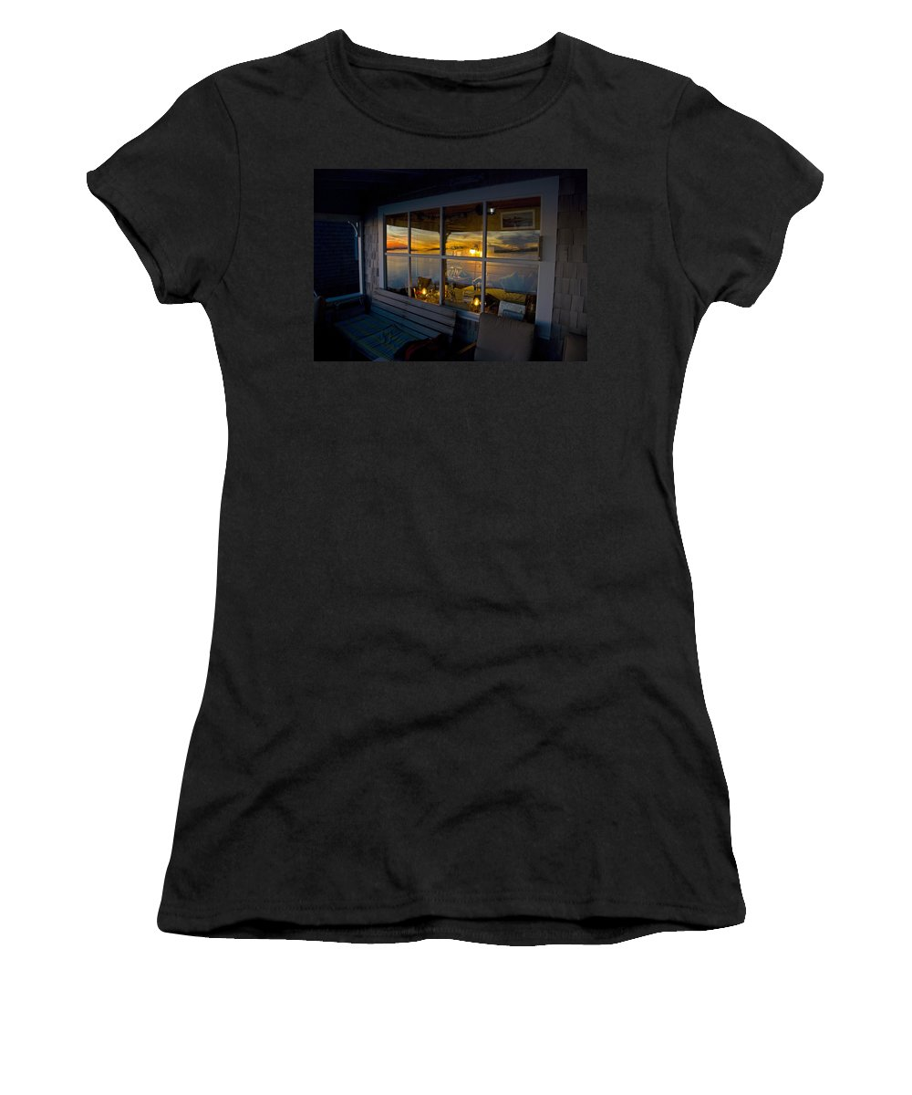 Sunset Women's T-Shirt (Athletic Fit) featuring the photograph Sunset At Fletchers Camp by Charles Harden