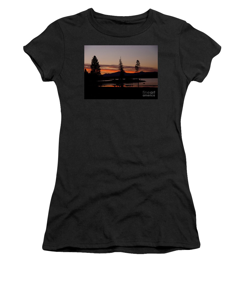 Lake Almanor Women's T-Shirt (Athletic Fit) featuring the photograph Sunset At Lake Almanor 02 by Peter Piatt