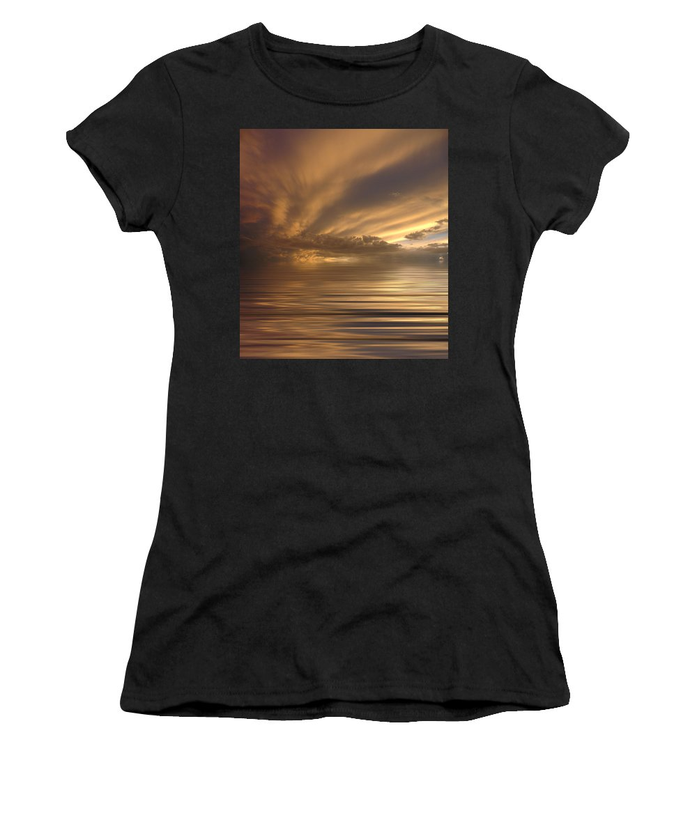 Sunset Women's T-Shirt (Athletic Fit) featuring the photograph Sunset At Sea by Jerry McElroy