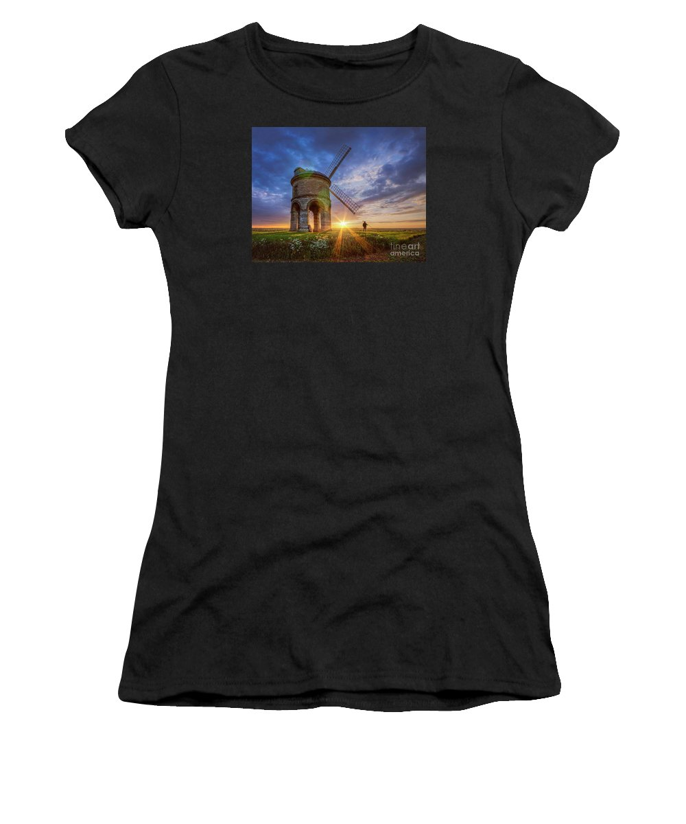 Windmill Women's T-Shirt (Athletic Fit) featuring the photograph Sunset At The Windmill by Fiona Smith