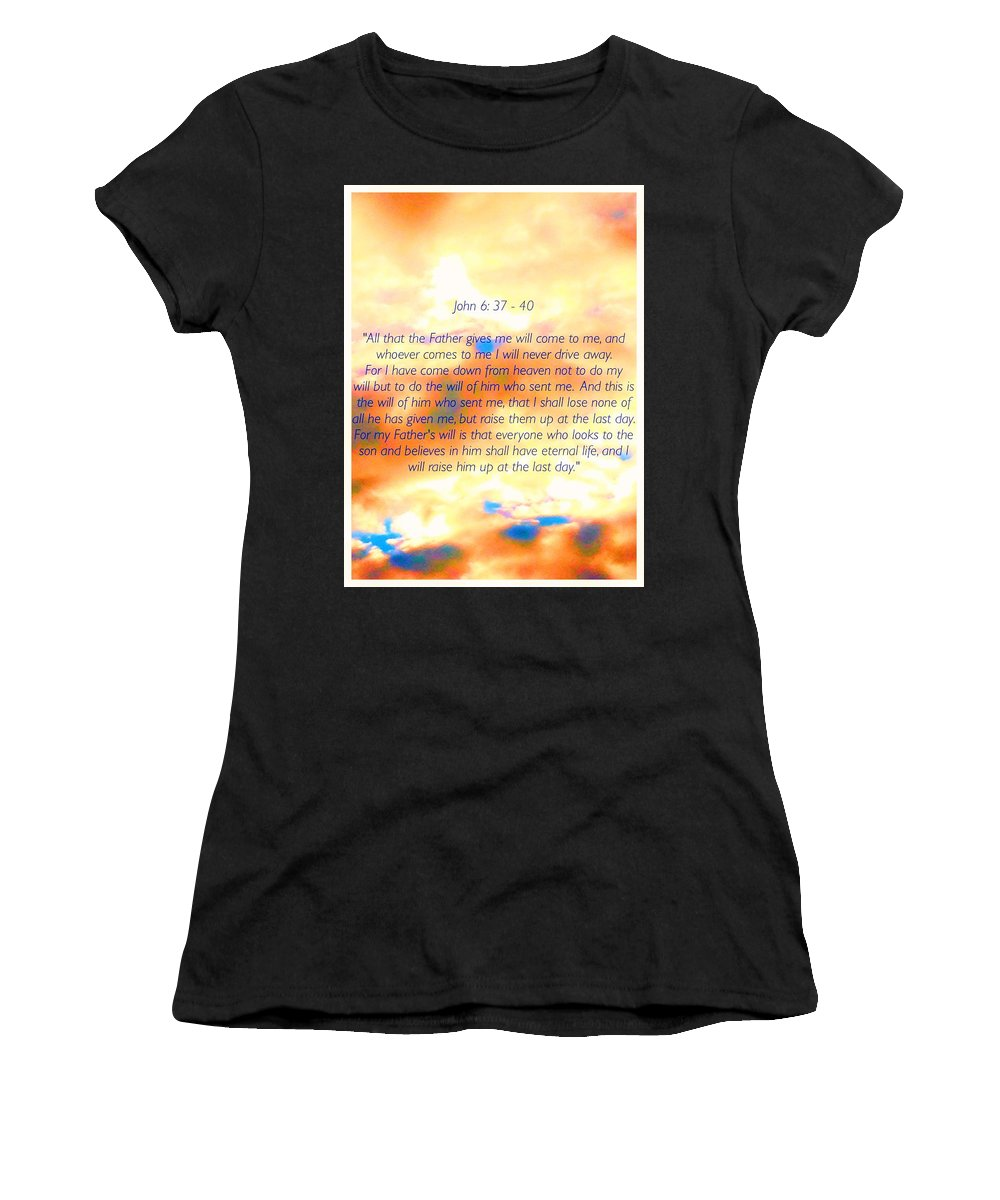 Sunset Women's T-Shirt (Athletic Fit) featuring the mixed media Sunset Bible Verse by Debra Lynch