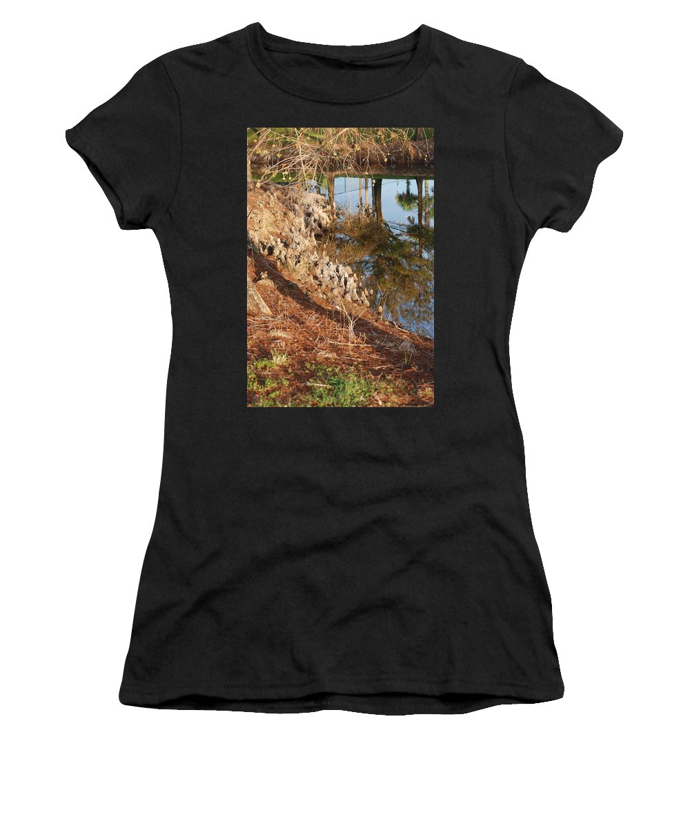 Reflections Women's T-Shirt (Athletic Fit) featuring the photograph Sunset By The Water by Rob Hans