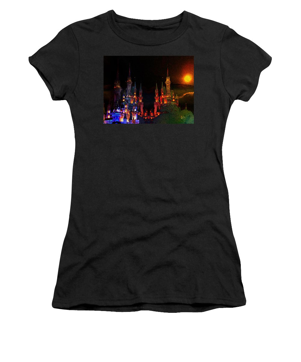 Sunset Castle Women's T-Shirt (Athletic Fit) featuring the digital art Sunset Castle by Kiki Art