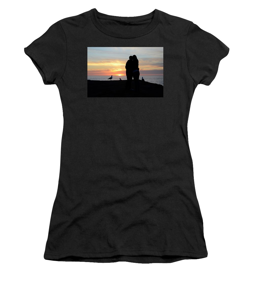 Sunset Women's T-Shirt featuring the photograph Sunset Couple by Bob Christopher