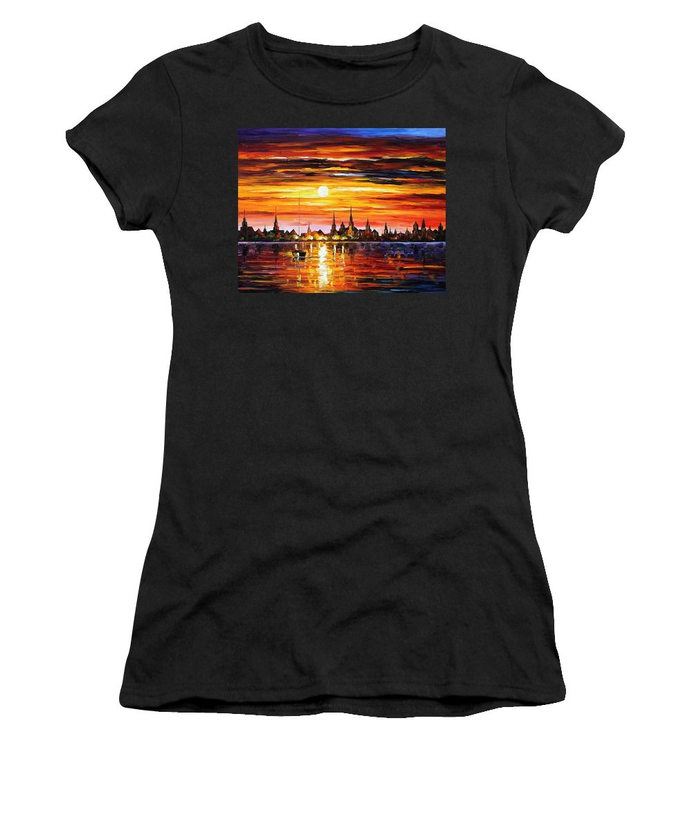 Afremov Women's T-Shirt (Athletic Fit) featuring the painting Sunset In Barcelona by Leonid Afremov