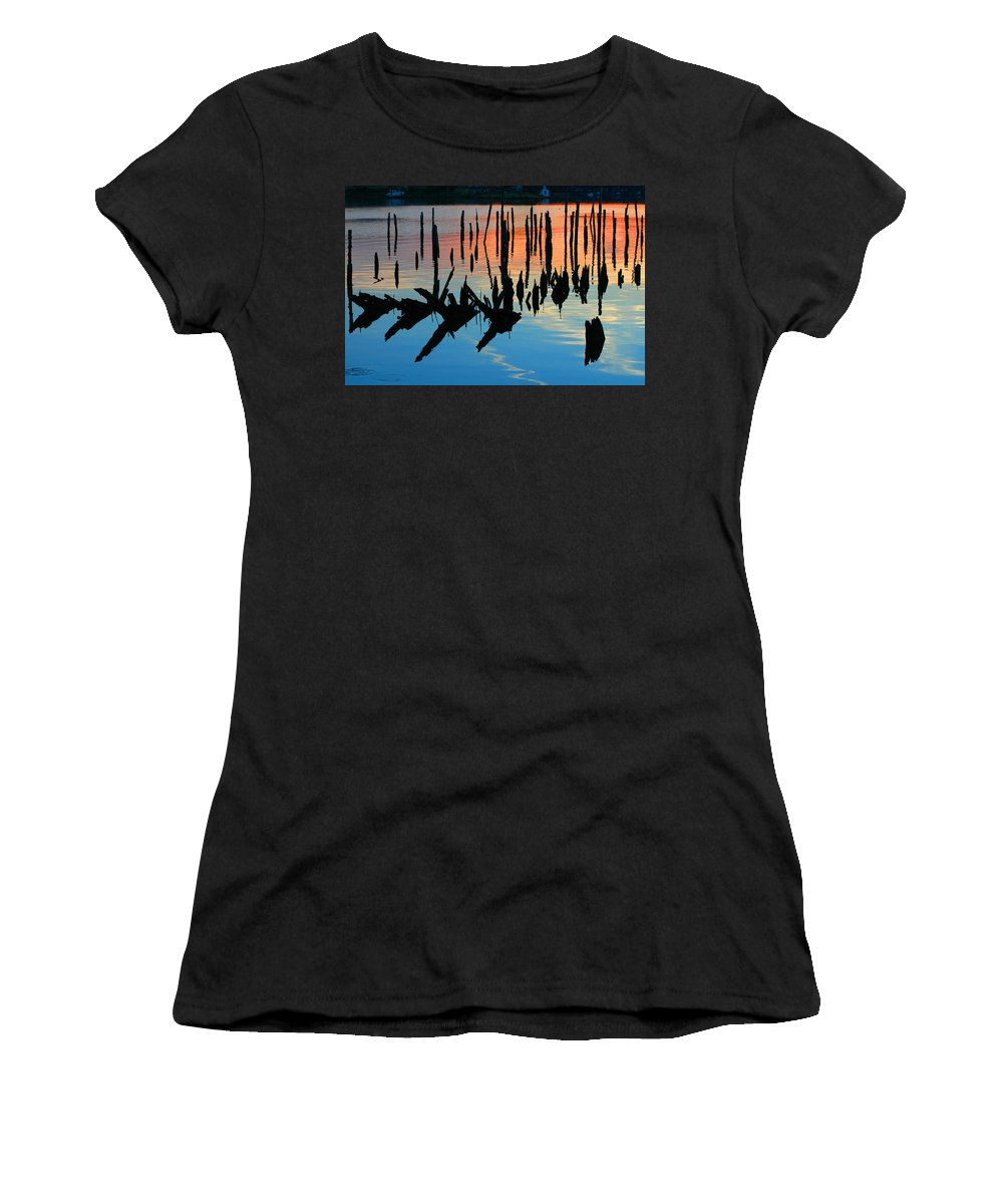 Clay Women's T-Shirt (Athletic Fit) featuring the photograph Sunset In Colonial Beach Virginia by Clayton Bruster