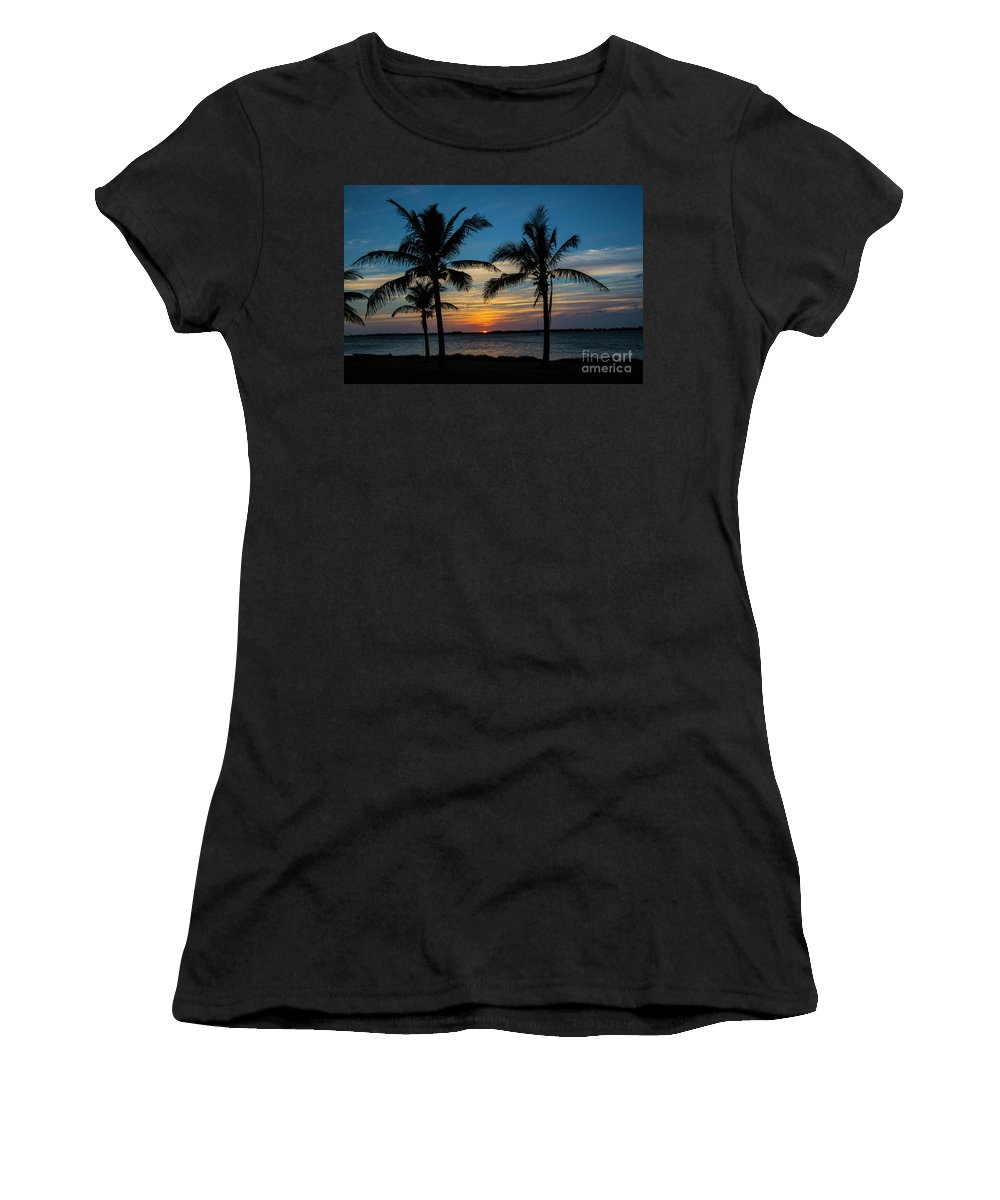 Sunset Women's T-Shirt (Athletic Fit) featuring the photograph Sunset In Key West by Rodney Cammauf