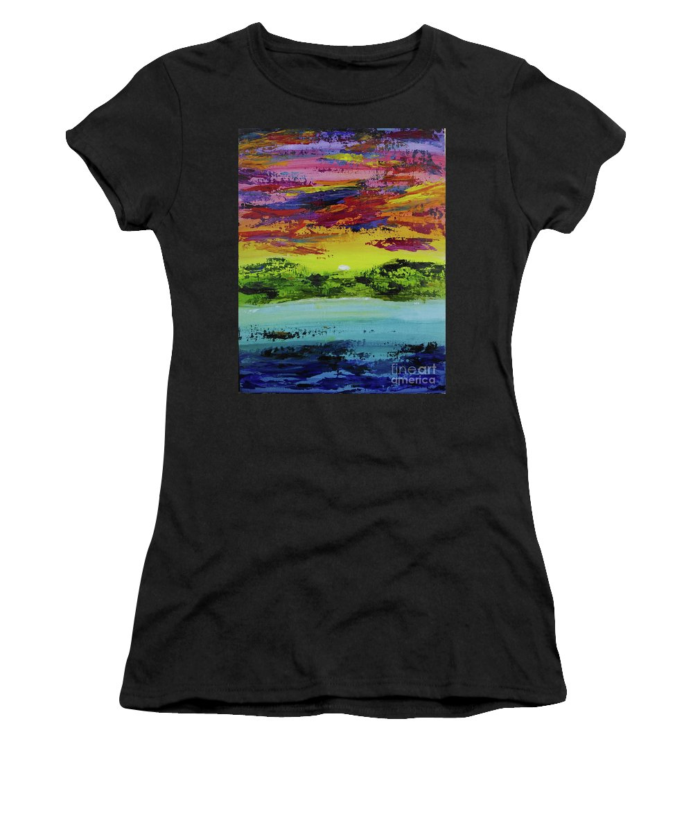 Sunset Women's T-Shirt (Athletic Fit) featuring the painting Sunset Island by Marsha McAlexander