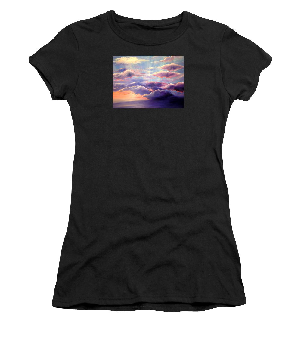 Sunset Women's T-Shirt (Athletic Fit) featuring the painting Sunset by Melissa Joyfully