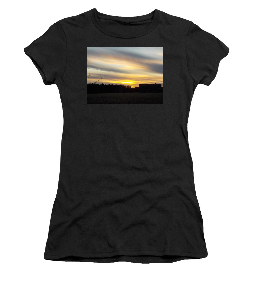 Farm Women's T-Shirt (Athletic Fit) featuring the photograph Sunset Of The Farm by Lynn Sobecke