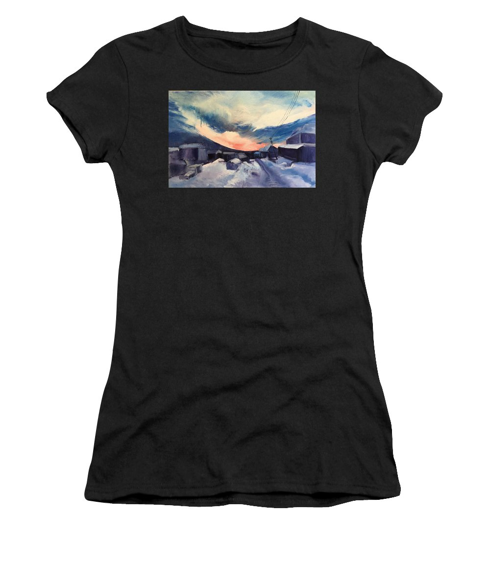Landscape Women's T-Shirt (Athletic Fit) featuring the painting Sunset by Olivia Ouyang