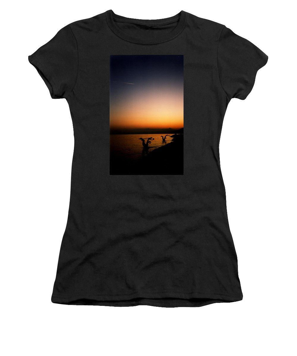 Sunset On Lake Geneva Women's T-Shirt (Athletic Fit) featuring the photograph Sunset On Lake Geneva by Catt Kyriacou